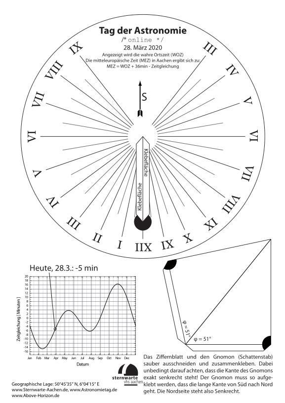 Horizontalsonnenuhr zum download und selberbasteln für den Tag der Astronomie 2020.